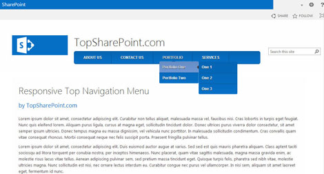 Responsive Top Navigation Menu | Best SharePoint Design Examples
